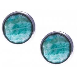Boucles d'oreille argent rhodié 1,8g -  amazonite facetté