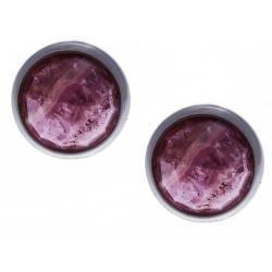 Boucles d'oreille argent rhodié 1,8g -  lapis rhodocrosite facetté