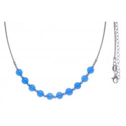 Collier argent rhodié 7,6g - 10 billes de 6mm en agate bleu turquoise - 40+7cm