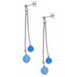 Boucles d'oreille argent rhodié 4,9g - 1 bille 6mm - 1 bille 8mm - agate bleue turquoise - longueurs 4,5 et 6cm
