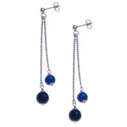 Boucles d'oreille argent rhodié 4,9g - 1 bille 6mm - 1 bille 8mm - agate bleue foncée - longueurs 4,5 et 6cm