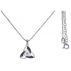 Collier argent rhodié 4g - triskel - marcassites - 40+5cm