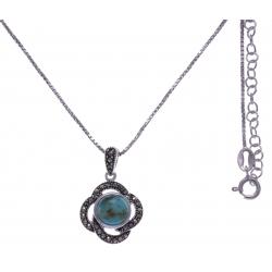 Collier argent rhodié 5,3g - turquoise - marcassites - 40+5cm
