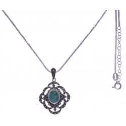 Collier argent rhodié 7,2g - turquoise - marcassites - 45+5cm