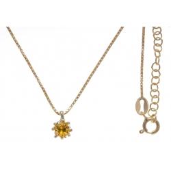 Collier argent doré 3g - citrine - 45+5cm