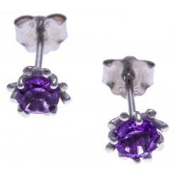 Boucles d'oreille argent rhodié 1,2g - améthyste