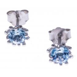 Boucles d'oreille argent rhodié 1,2g - bleu topaze