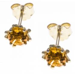 Boucles d'oreille argent doré 1g - citrine