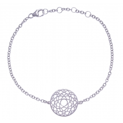 Bracelet argent rhodié 3g - chakra couronne - 17+1+1cm