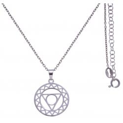 Collier argent rhodié 4,1g - chakra de la gorge - 38+5cm