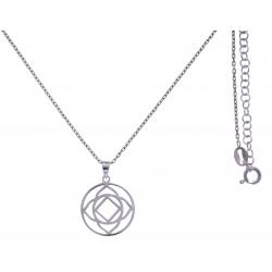 Collier argent rhodié 4,1g - chakra racine - 38+5cm