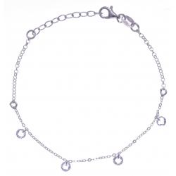 Bracelet argent rhodié 1,8g - cristaux de swarovski - 17+3cm