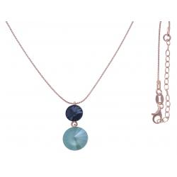 Collier argent rosé 3,9g  - cristaux de swarovski - couleur saphir et menthe verte - 40+5cm