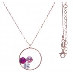 Collier argent rosé 3,9g  - cristaux de swarovski - couleur rose crystal et fushia- 40+5cm
