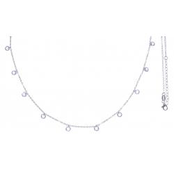 Collier argent rhodié 3,2g - cristaux de swarovski - 38+5cm
