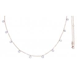 Collier argent rosé 3,2g - cristaux de swarovski - 38+5cm