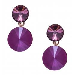 Boucles d'oreille argent rosé 3,6g - cristaux de swarvoski - couleur fushia et pivoine