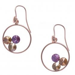 Boucles d'oreille argent rosé 3,7g - cristaux de swarovski - couleur pêche, améthyste et vert clair