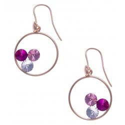 Boucles d'oreille argent rosé 3,7g - cristaux de swarovski - couleur rose crystal et fushia