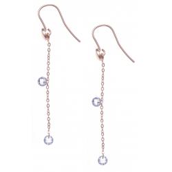 Boucles d'oreille argent rosé 1,6g - cristaux de swarovski - chaîne 4,5cm