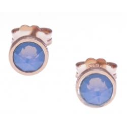 Boucles d'oreille argent rosé 1,1g - cristaux de swarovski - couleur bleu opal - diamètre 5mm