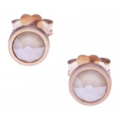 Boucles d'oreille argent rosé 1,1g - cristaux de swarovski -  couleur ivoire - diamètre 5mm