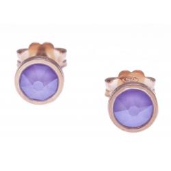 Boucles d'oreille argent rosé 1,1g - cristaux de swarovski -  couleur lila - diamètre 5mm