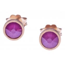 Boucles d'oreille argent rosé 1,1g - cristaux de swarovski -  couleur rose - diamètre 5mm