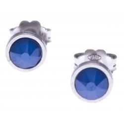 Boucles d'oreille argent rhodié 1,1g - cristaux de swarovski -  couleur bleu royal - diamètre 5mm