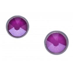 Boucles d'oreille argent rhodié 1,5g - cristaux de swarovski -  couleur pivoine rose - diamètre 7mm