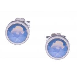 Boucles d'oreille argent rhodié 1,5g - cristaux de swarovski -  couleur bleu  opal - diamètre 7mm