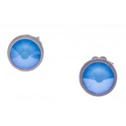Boucles d'oreille argent rhodié 1,5g - cristaux de swarovski -  couleur bleu été - diamètre 7mm