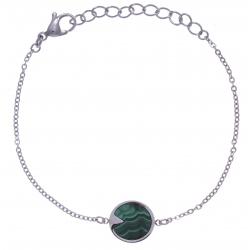 Bracelet en acier - malachite - diamètre 12mm - longueur 16+4cm