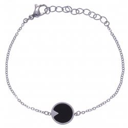Bracelet en acier - onyx - diamètre 12mm - longueur 16+4cm