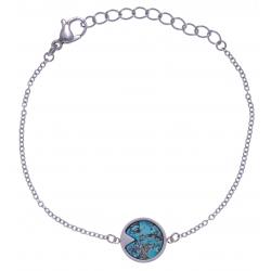Bracelet en acier - chrysocolle - 12mm - longueur 16+4cm