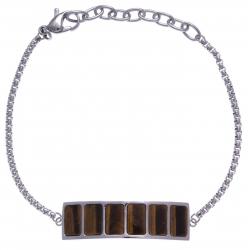 Bracelet en acier - œil de tigre - longueur 16+4cm