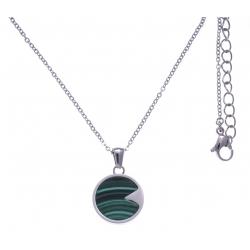 Collier en acier - malachite - diamètre 18mm - longueur 40+10cm