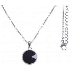 Collier en acier - onyx - diamètre 18mm - longueur 40+10cm