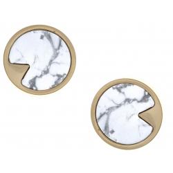 Boucles d'oreille en acier doré - howlite - diamètre 12mm