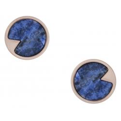 Boucles d'oreille en acier rosé - sodalite - diamètre 12mm