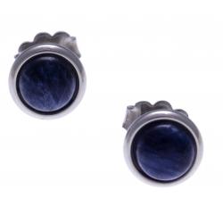 Boucles d'oreille en acier - cabochon sodalite 8mm