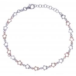 Bracelet argent rhodié 3,4g - 2 tons - étoiles - 17+3cm