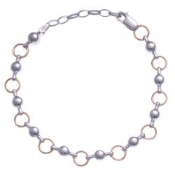 Bracelet argent rhodié 6,4g - 2 tons - 17+3cm