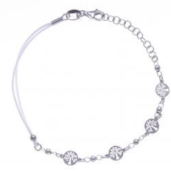 Bracelet argent rhodié 2,5g - arbres de vie - cordon blanc - 17+3cm