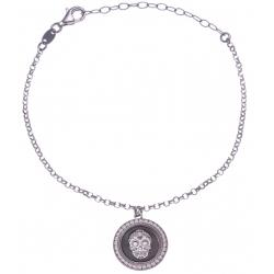 Bracelet argent rhodié 4,7g - 2 tons - tête de mort - diamètre 18mm - 18+5cm