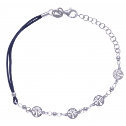 Bracelet argent rhodié 2,5g - arbres de vie - cordon bleu foncé - 17+3cm