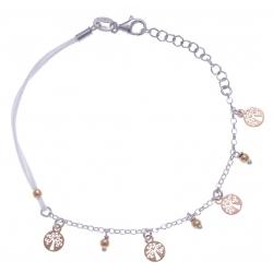 Bracelet argent rhodié 2,3g - 2 tons - abre de vie pendants - cordon blanc - 17+3cm