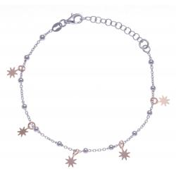 Bracelet argent rhodié 3,2g - 2 tons - étoiles - 17+3cm