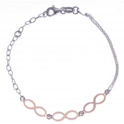 Bracelet argent rhodié 2,2g - 2 tons - infinis - 17+3cm