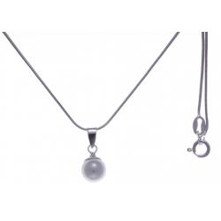 Collier argent rhodié 3,1g - perle blanche syntéhtique - 40cm